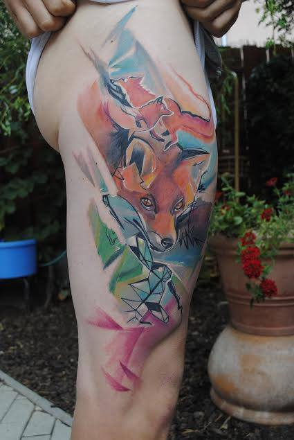 Abstract Fox Tattoo On Right Side Thigh By Peter Bobek