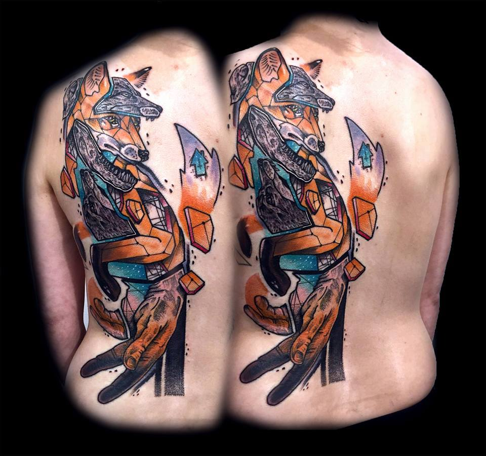 Abstract Geometric Fox Tattoo On Full Back