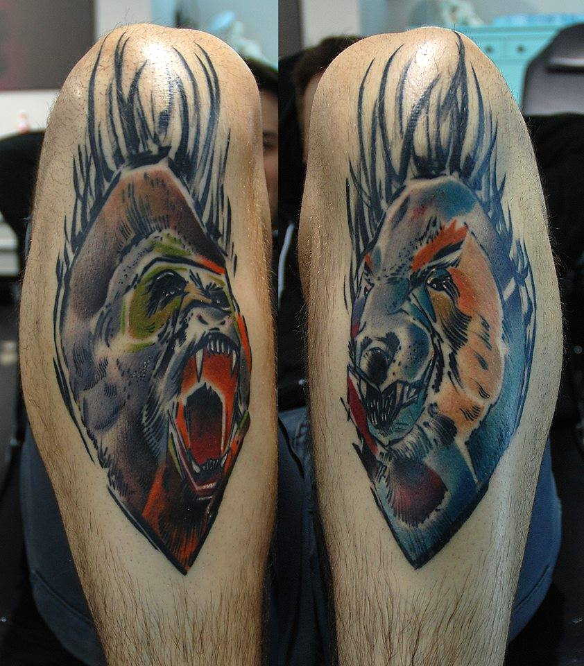 Abstract Gorilla Head Tattoo On Leg