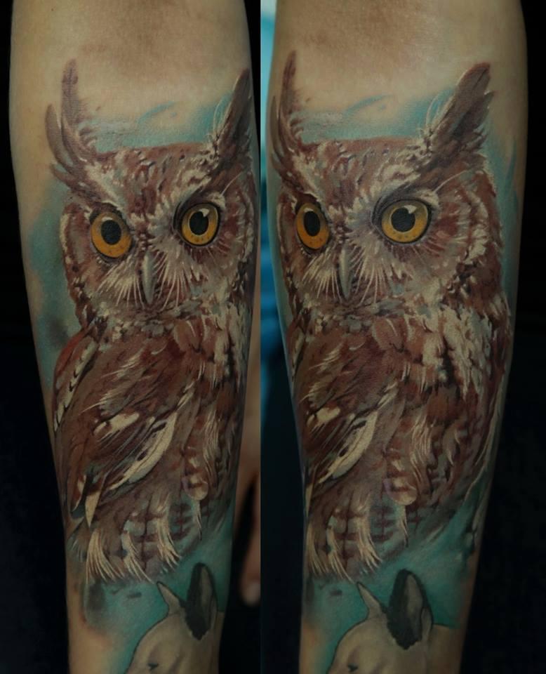 Abstract Owl Tattoo On Forearm By Dmitriy Samohin