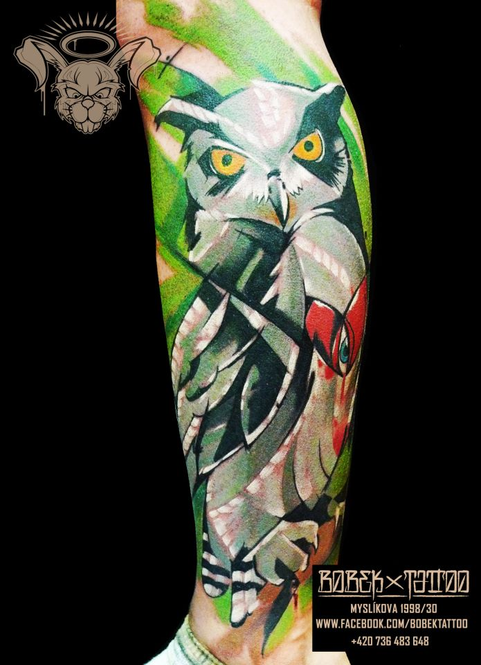 Abstract Owl Tattoo On Leg By Peter Bobek