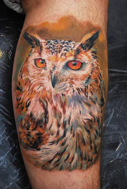 Owl Tattoos On Ankle 40+ Awesome Owl Clock ...