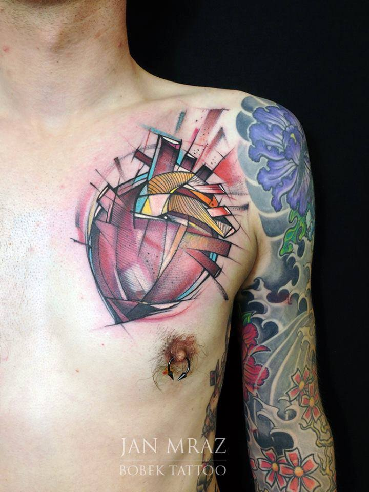 Abstract Real Heart Tattoo On Left Front Shoulder By Jan Mraz