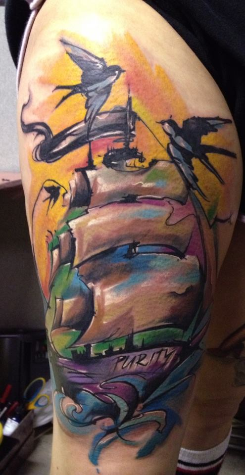 Abstract Ship With Flying Birds Tattoo On Right Side Thigh By Peter Bobek