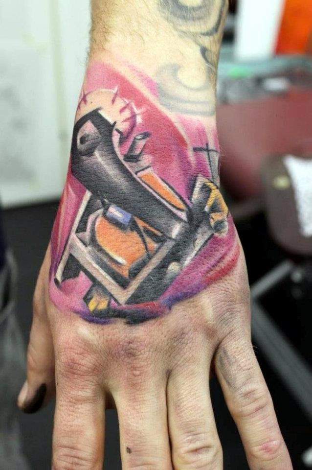 Abstract Tattoo Machine Tattoo On Left Hand