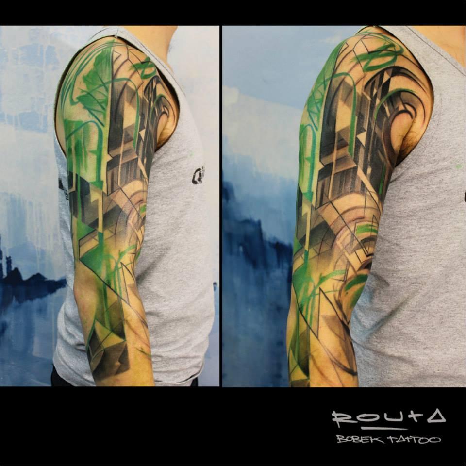 Abstract Tattoo On Man Right Half Sleeve
