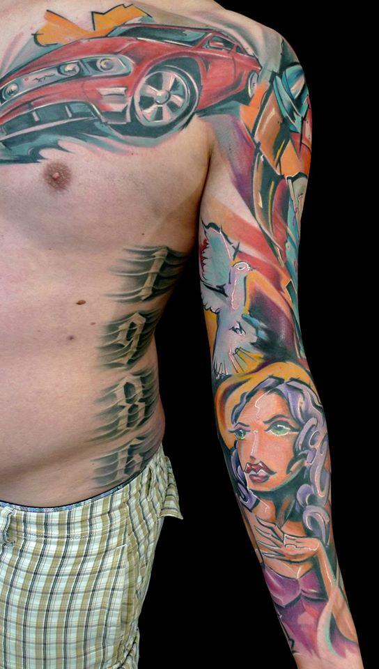 Abstract Women With Flying Bird Tattoo On Man Left Full Sleeve