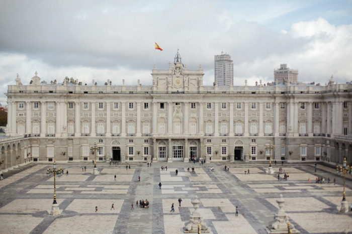 Aerial View Of The Royal Palace Of Madrid Courtyard