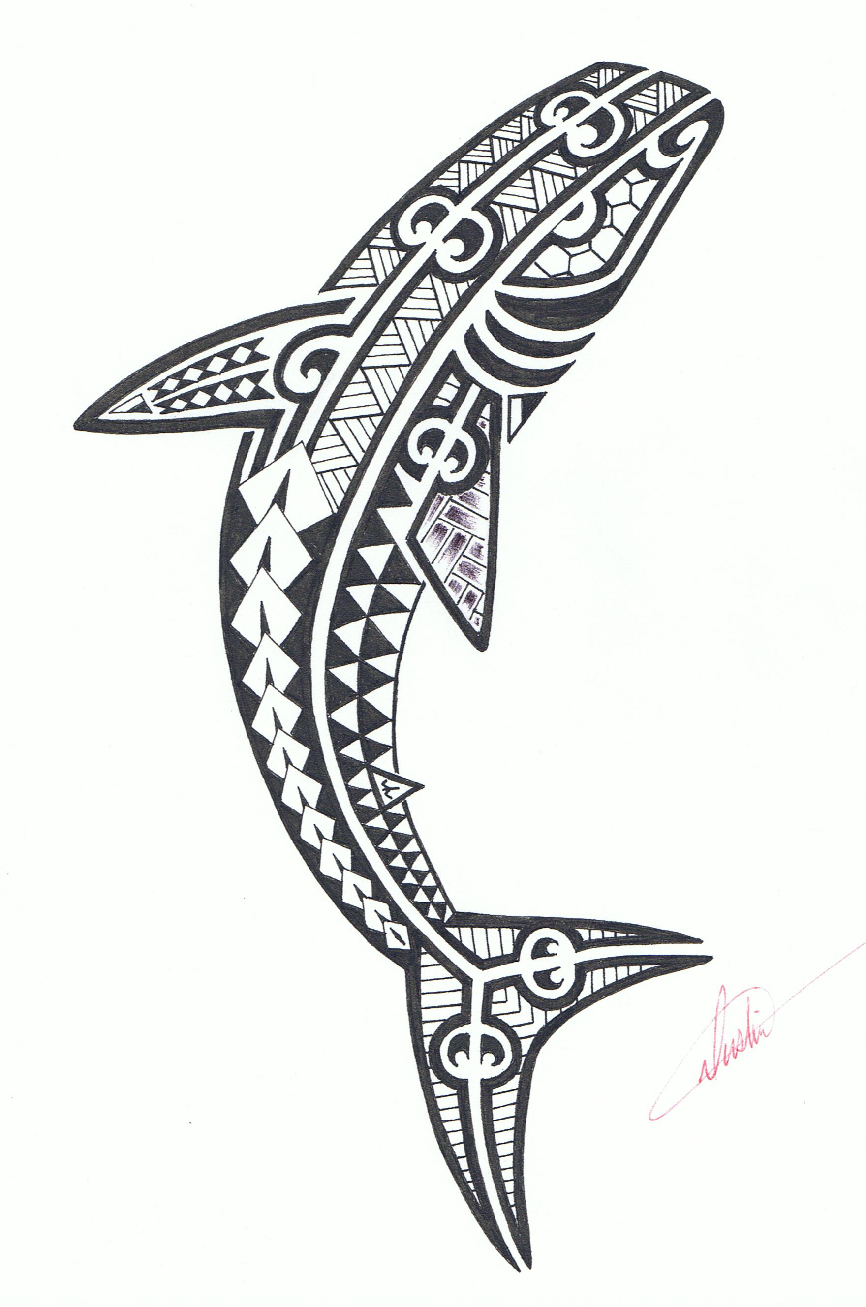 It is a photo of Dramatic Shark Tattoo Drawing