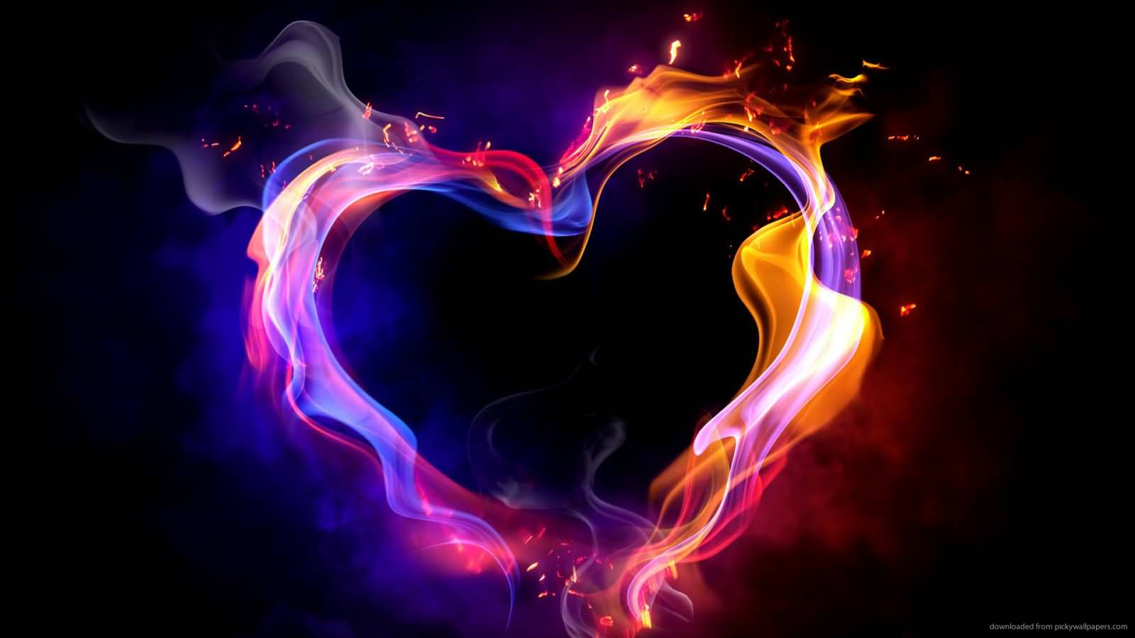 Amazing Flame Valentines Day Heart