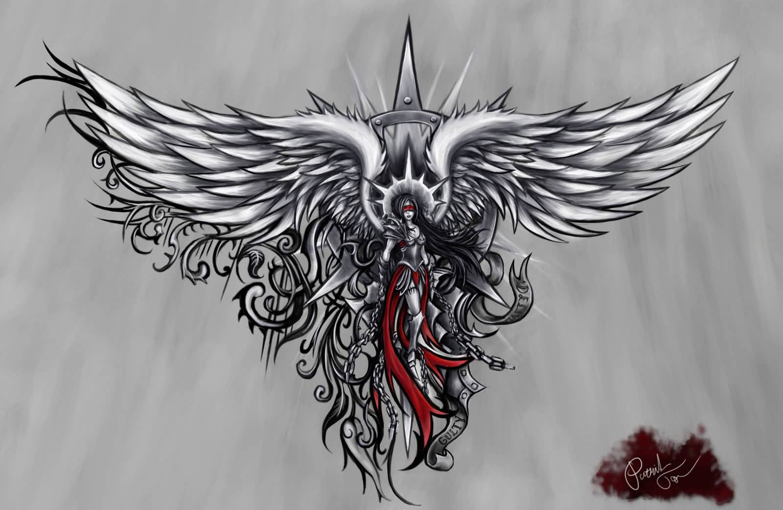angel tattoo design stencils. Black Bedroom Furniture Sets. Home Design Ideas