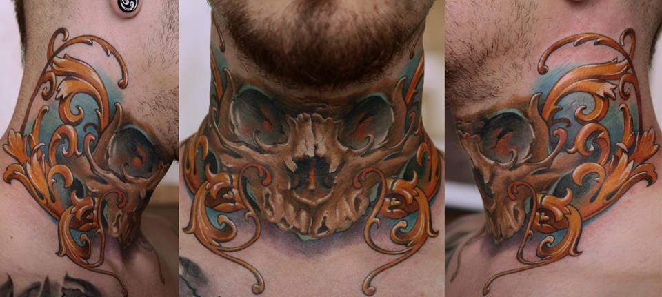 Attractive 3d skull tattoo on man neck for Skull neck tattoos