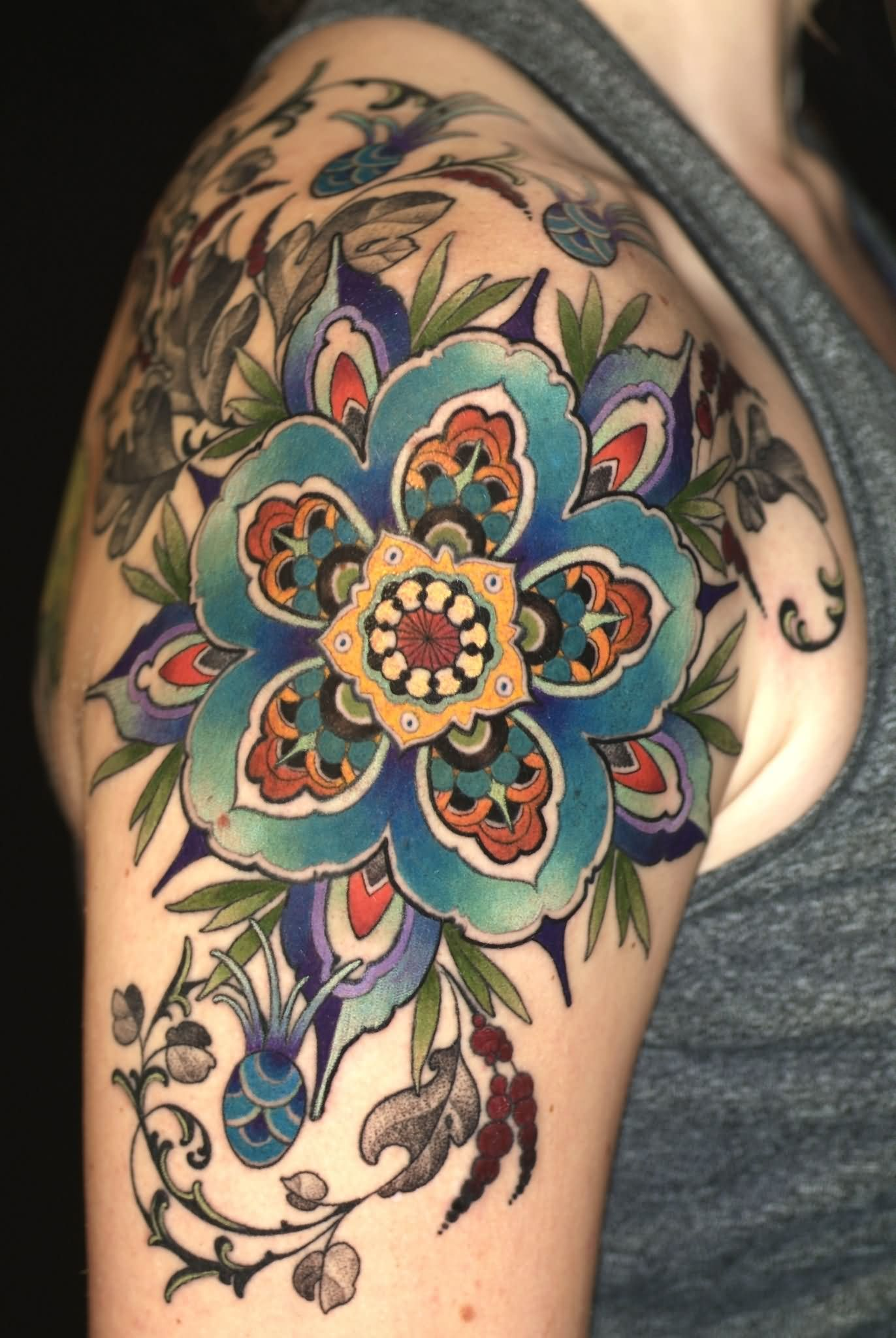 Colorful Traditional Flower Tattoo Right Back Shoulder