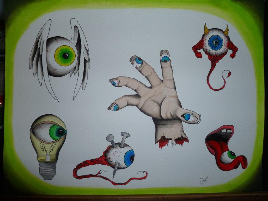 Attractive Eye Balls Tattoo Design