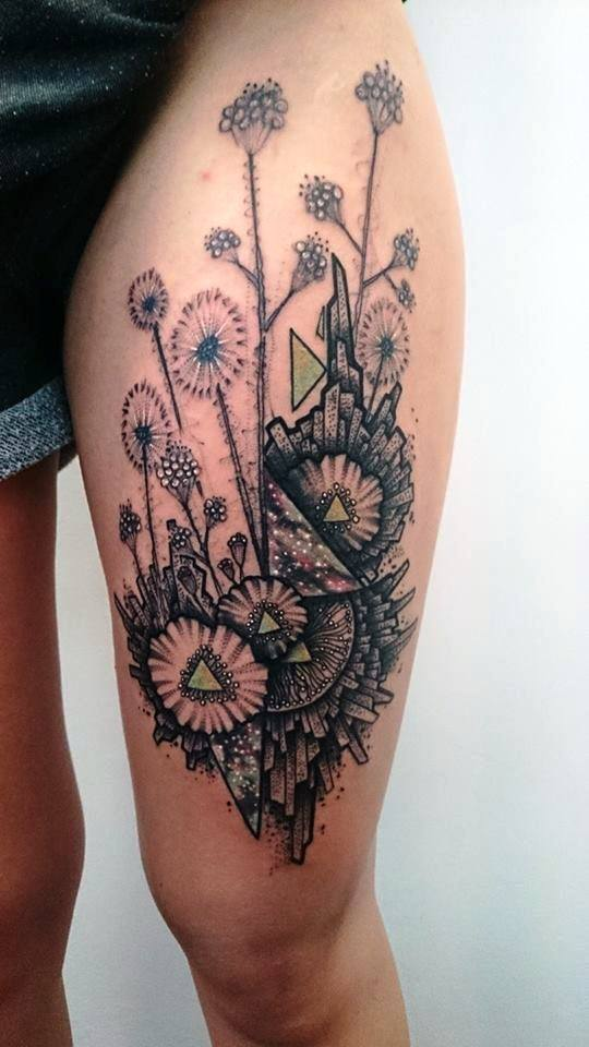 Attractive Flowers Tattoo On Left Thigh