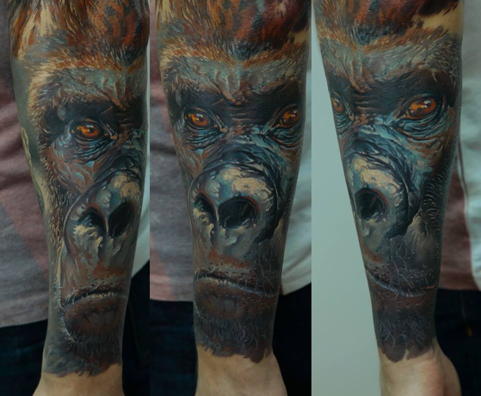 Awesome 3D Gorilla Head Tattoo On Arm
