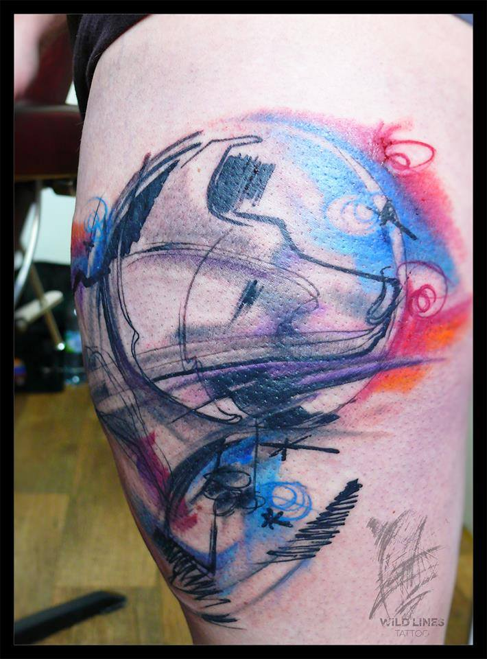 Awesome Abstract Tattoo Design For Side Thigh By Dodo Deer