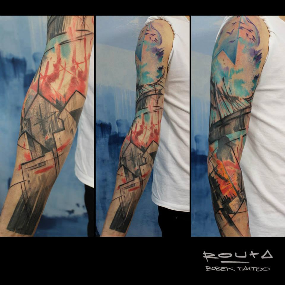 Awesome Abstract Tattoo On Right Full Sleeve