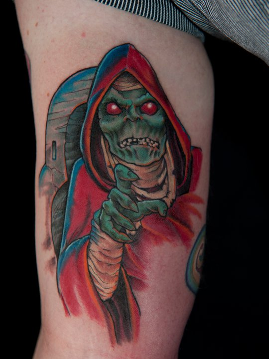 Awesome Alien Tattoo Design For Half Sleeve