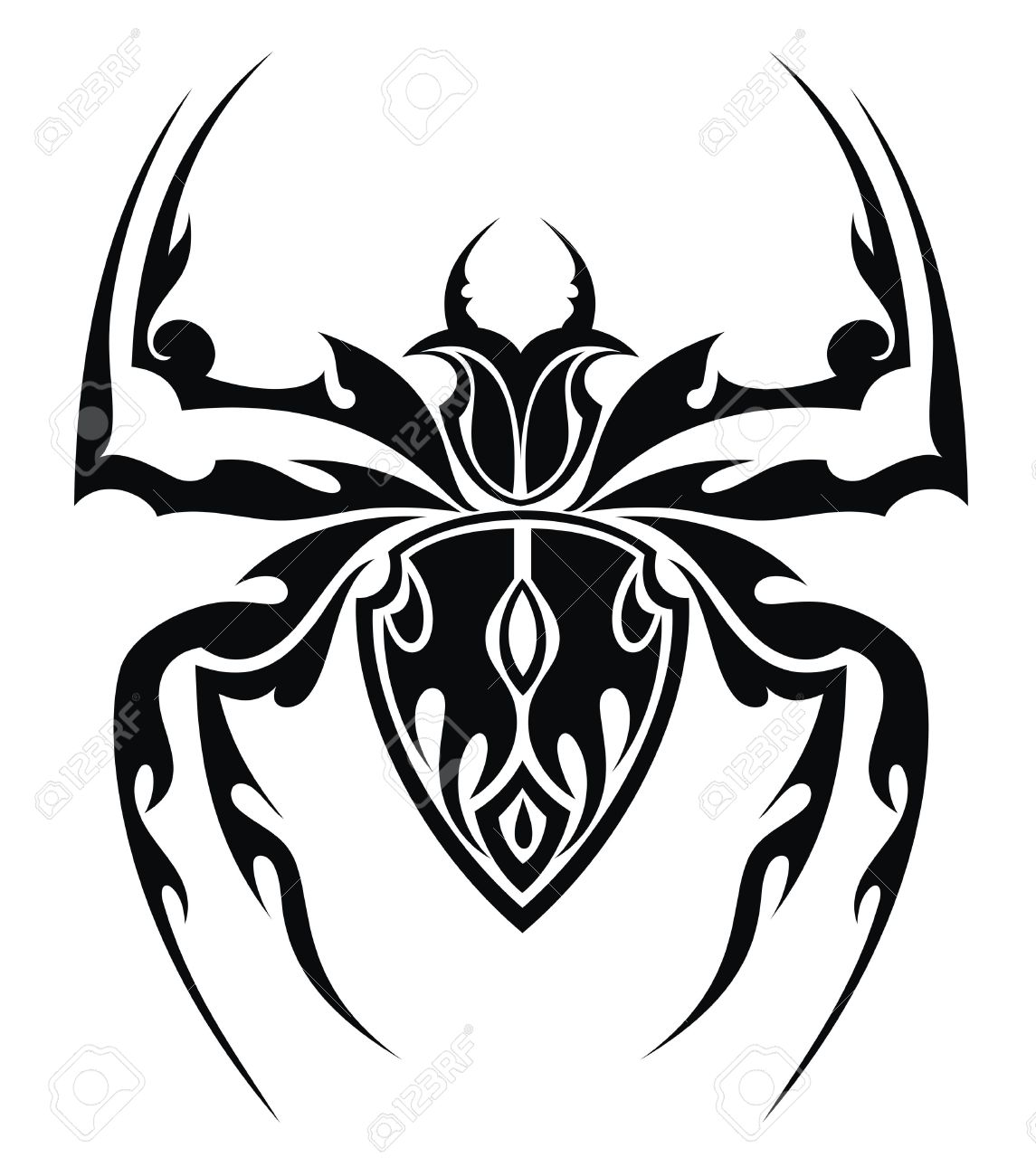 1dff3a074 Awesome Black Tribal Spider Tattoo Design