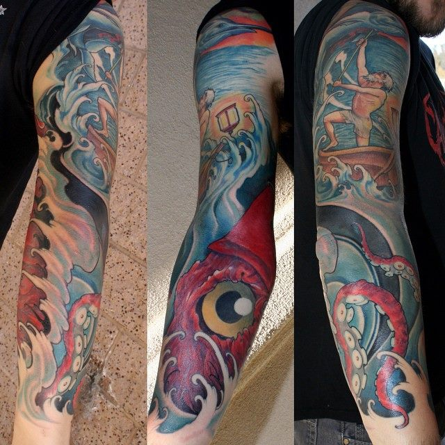 Awesome Octopus Tattoo On Right Full Sleeve