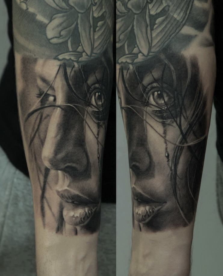 Black And Grey 3D Women Face Tattoo On Forearm By Dmitriy Samohin