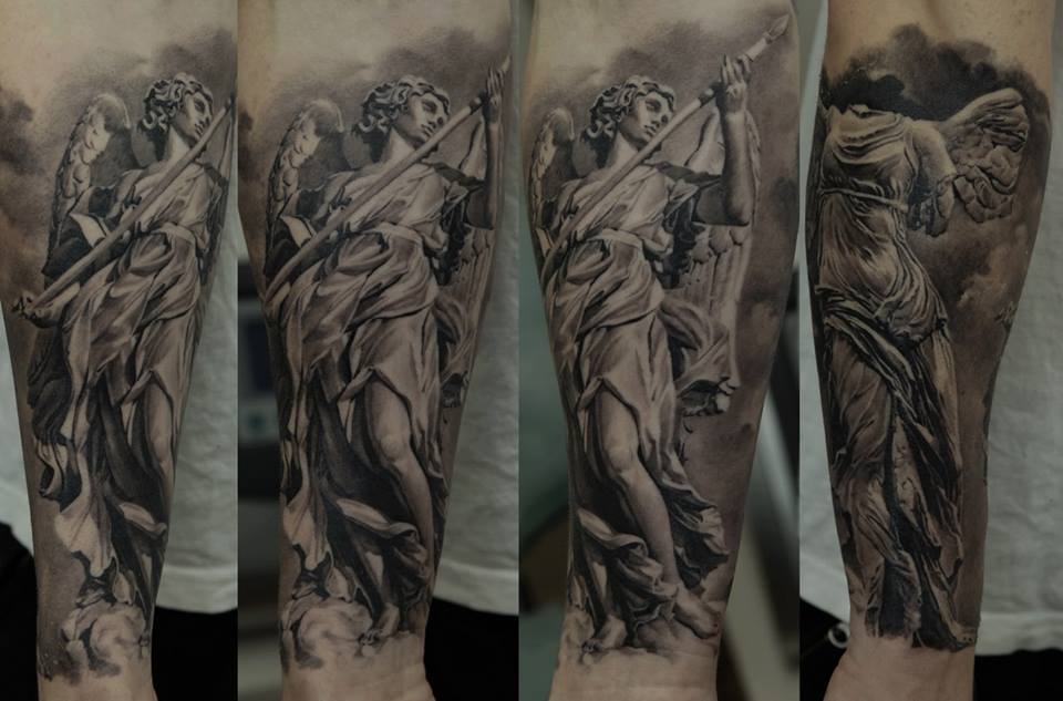 5e339c8e4 Black And Grey Angel With Sword Tattoo On Left Arm