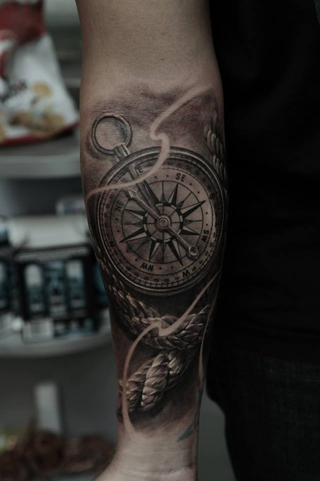 Black And Grey Compass Tattoo On Right Forearm By Dmitriy Samohin