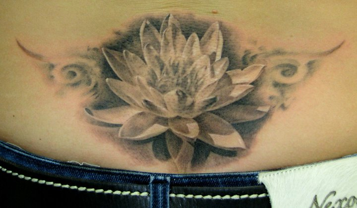 Black And Grey Lotus Flower Tattoo Design For Lower Back