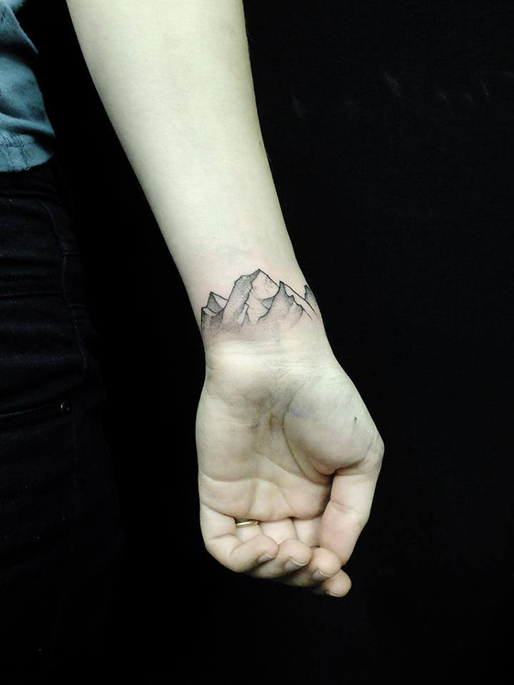 Black And Grey Mountains Tattoo On Left Wrist
