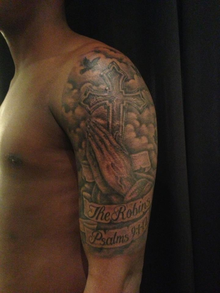 e190b75d3e936 Black And Grey Praying Hands With Cross And Banner Tattoo On Man Left Half  Sleeve