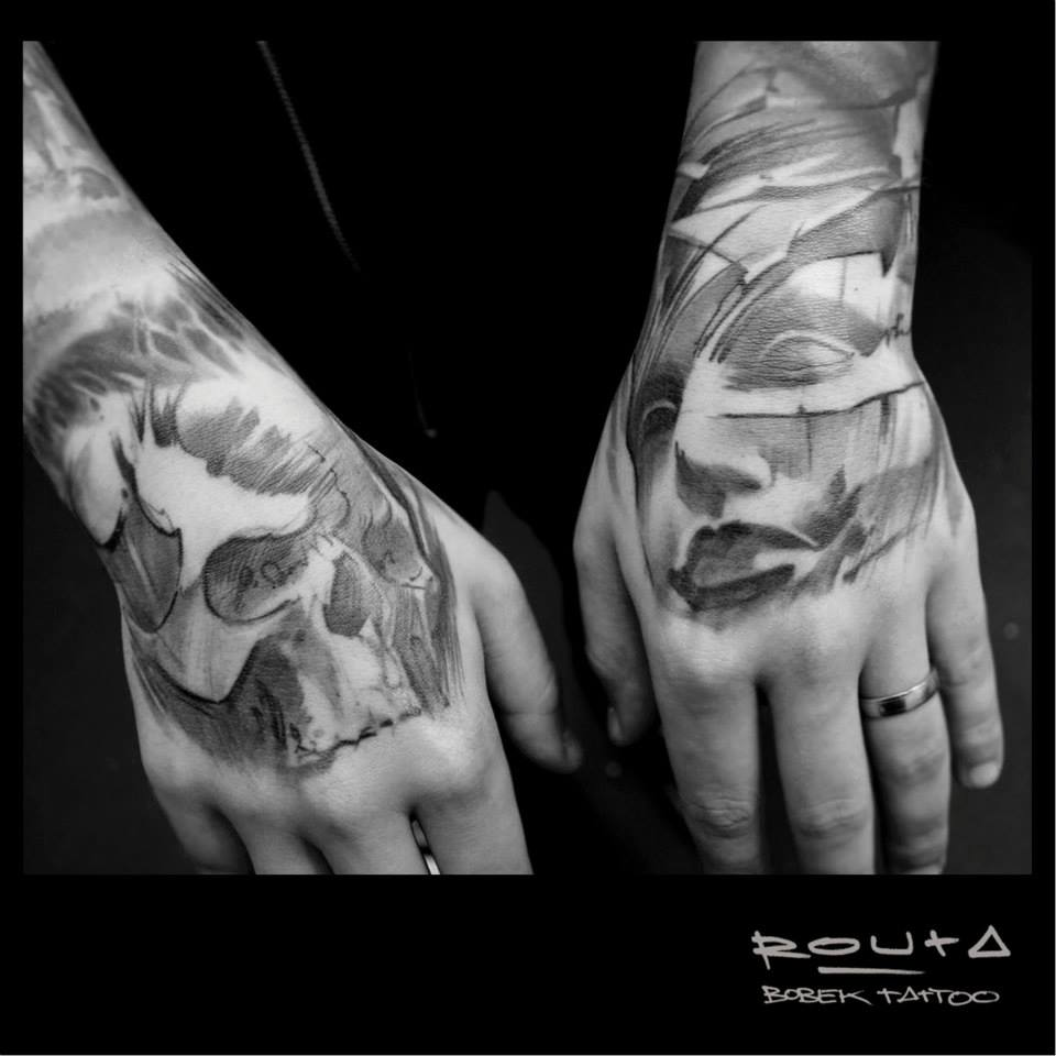 Black And Grey Skull And Man Face Tattoo On Both Hand