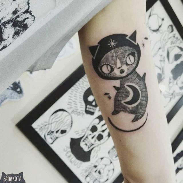 Black Half Moon With Cat Tattoo On Left Half Sleeve