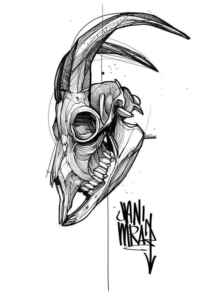 Black Ink Abstract Animal Skull Tattoo Design