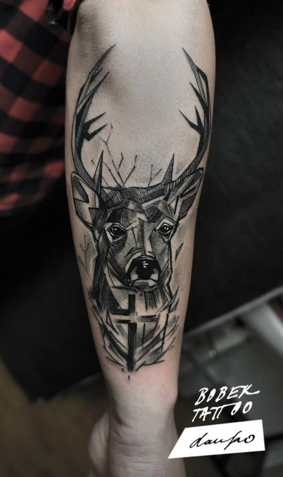 Black Ink Abstract Deer Head Tattoo On Right Arm