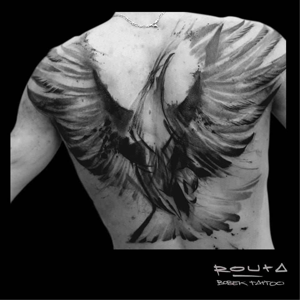 Black Ink Abstract Flying Bird Tattoo On Full Back