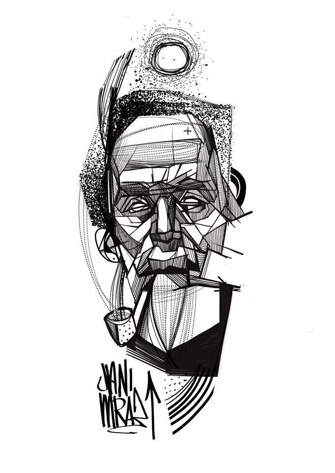 Black Ink Abstract Man Face Tattoo Design
