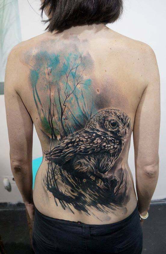 Black Ink Abstract Owl Tattoo On Full Back