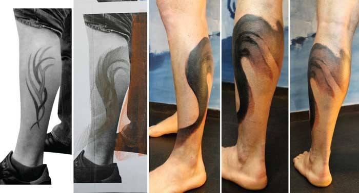 Black Ink Abstract Tattoo On Left leg