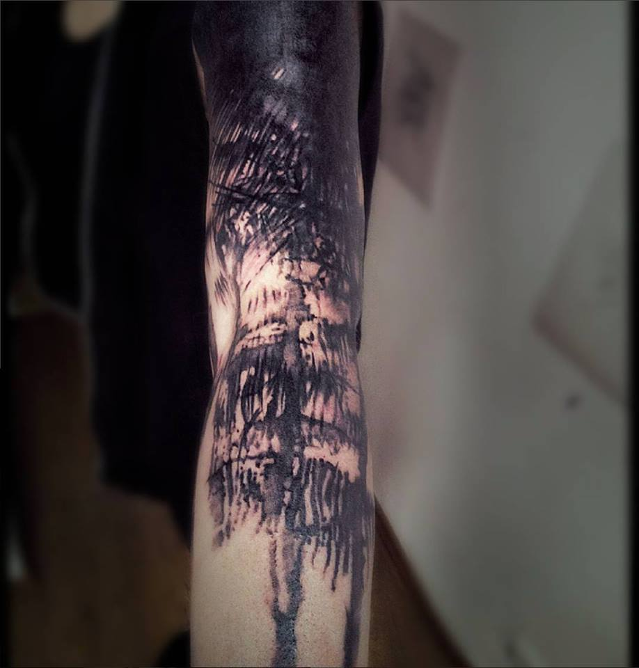 black ink abstract tree tattoo on left full sleeve rh askideas com abstract tree of life tattoo abstract tree tattoo designs
