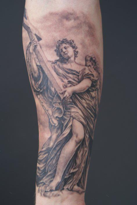 Black ink angel with guitar tattoo on right forearm for Angel tattoos on forearm
