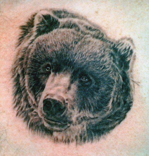 black ink bear head portrait tattoo design. Black Bedroom Furniture Sets. Home Design Ideas