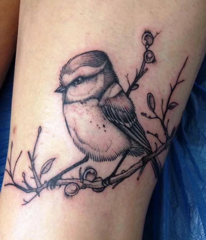 black ink bird tattoo on half sleeve. Black Bedroom Furniture Sets. Home Design Ideas