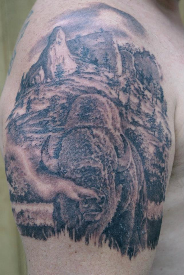 Shoulder tattoos for Tattoos of buffaloes