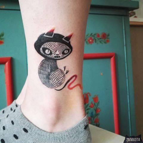 Black Ink Devil Cat Tattoo On Left Ankle