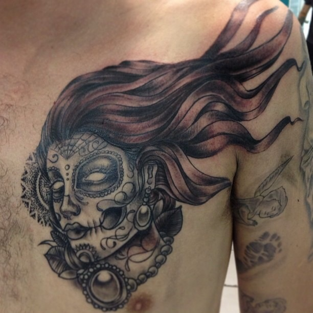 Black Ink Dia De Los Muertos Girl Face Tattoo On Man Left Front Shoulder