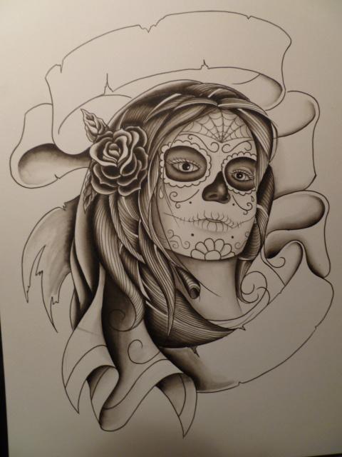 Black Ink Dia De Los Muertos Girl Face With Rose Tattoo Design