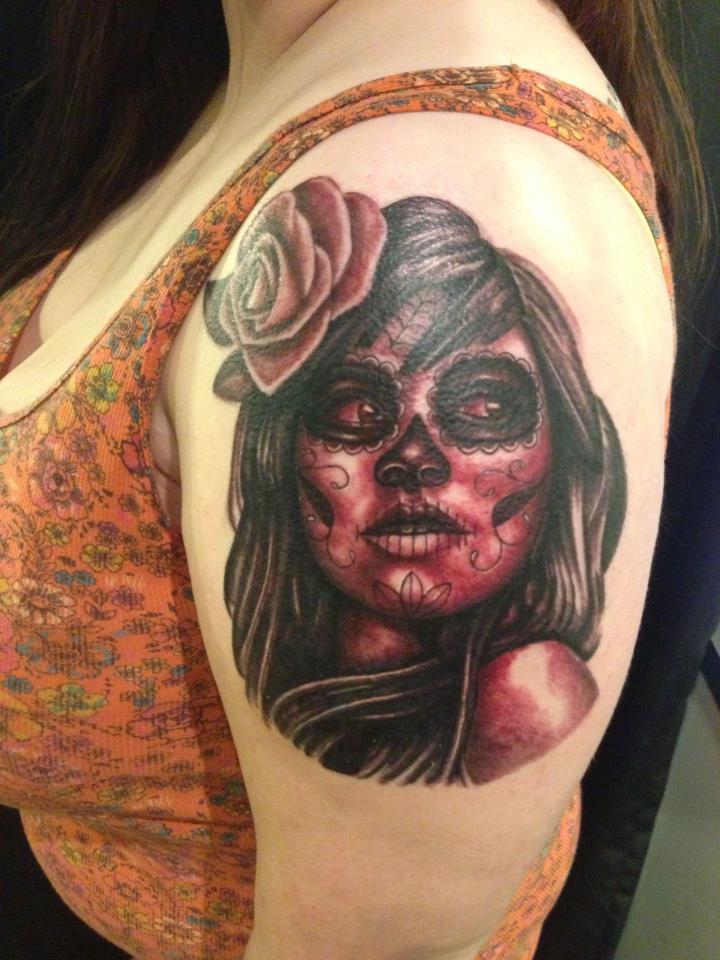 193a8851b2827 Black Ink Dia De Los Muertos Girl Face With Rose Tattoo On Women Left  Shoulder