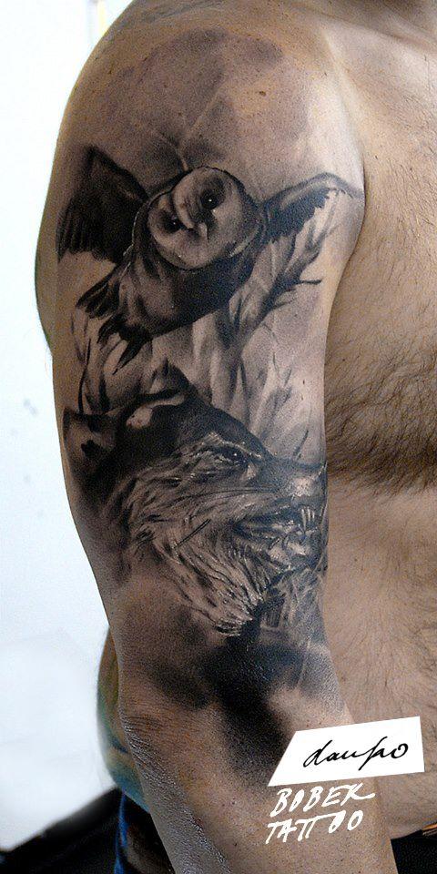 Black Ink Flying Owl Tattoo On Man Right Half Sleeve