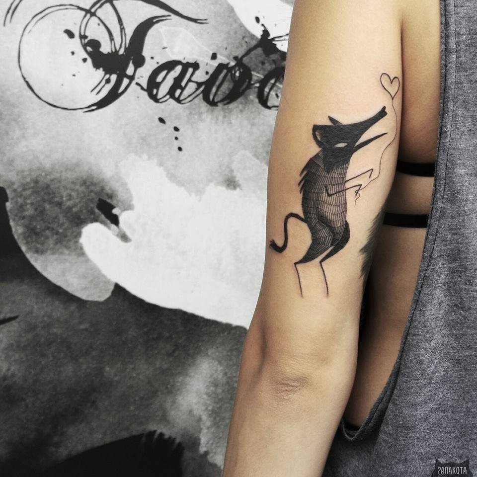Black Ink Fox Tattoo On Left Half Sleeve By Panakota